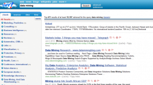 Search result on data mining is listed on the right. Yippy clusters the search as can be  seen on the left.
